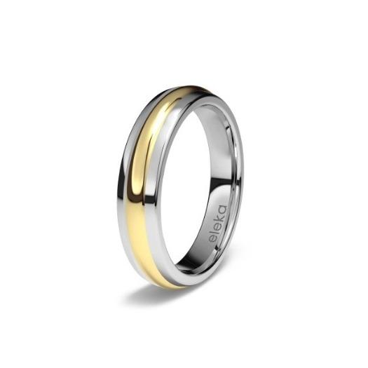Anillo de matrimonio de titanio y oro amarillo 8490