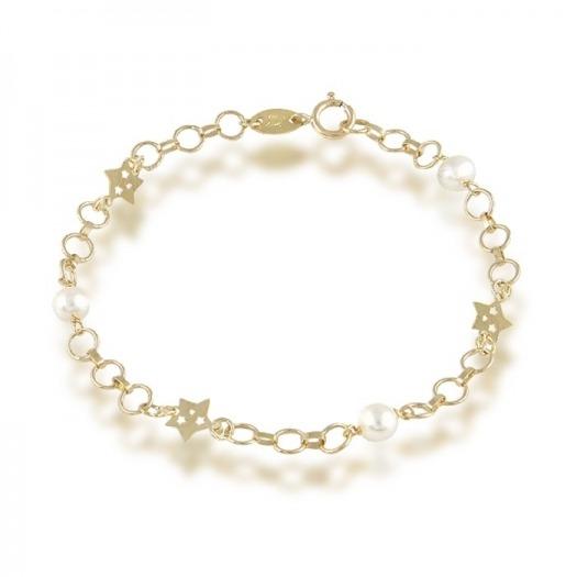 382b7f57d480 pulsera oro de ley de primera comunion florecitas y perlas
