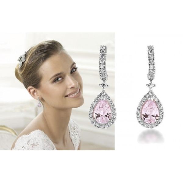 d27bc33d4bcd Pendientes para novia con piedra rosa morganita. Última tendencia