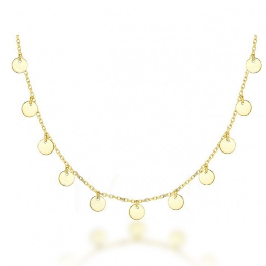COLLAR CHOCKER 9 PLAQUITAS DORADO