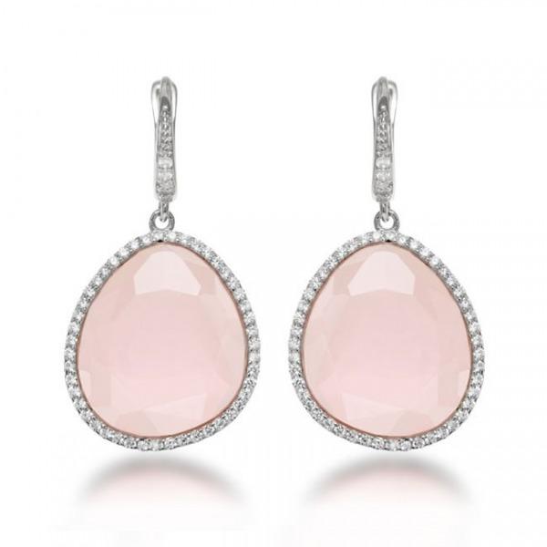 pendientes novia rosa cuarzo