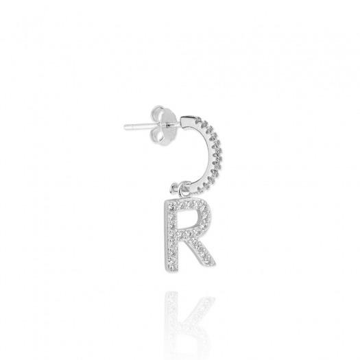 Pendientes aro con inicial letra r