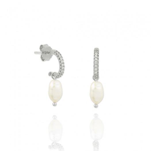 Pendientes plata aro con perla